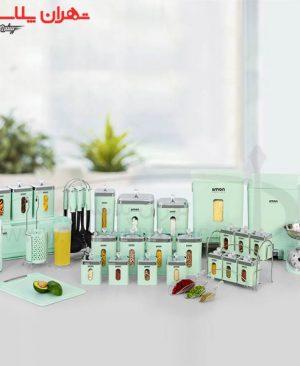 سرویس آشپزخانه چهارگوش ۳۷پارچه سبز لیمون/۱سرویس